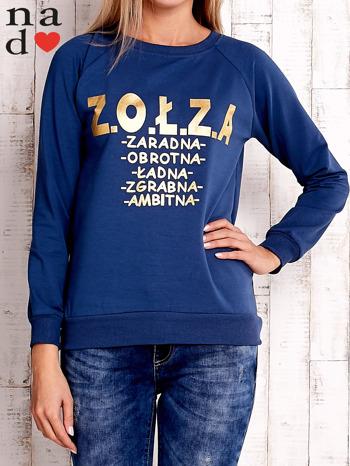 Ciemnoniebieska bluzka z napisem ZOŁZA                                  zdj.                                  1