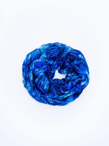 Ciemnoniebieska chusta z palmowym motywem                                   zdj.                                  2