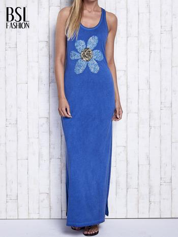 Ciemnoniebieska dekatyzowana sukienka maxi z cekinowym kwiatem                                  zdj.                                  1