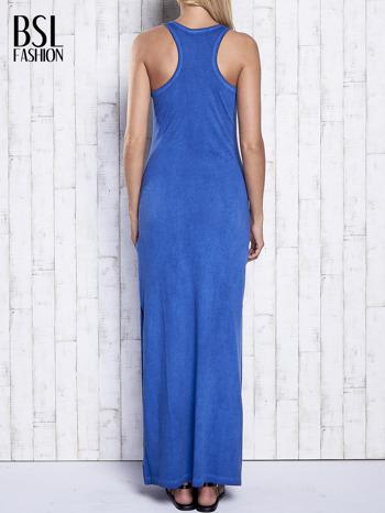 Ciemnoniebieska dekatyzowana sukienka maxi z cekinowym kwiatem                                  zdj.                                  2