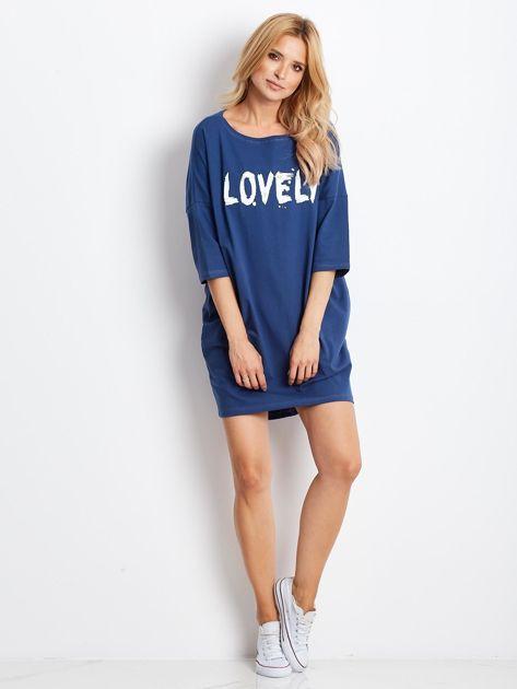 Ciemnoniebieska dresowa sukienka z aplikacją                              zdj.                              4