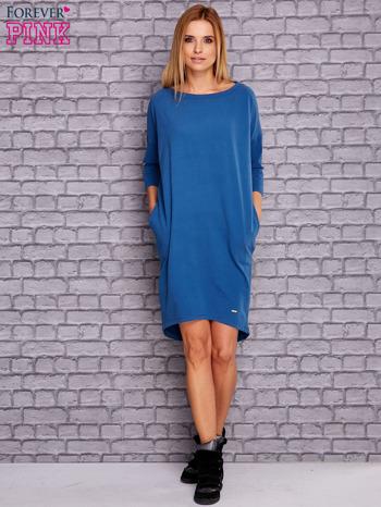 Ciemnoniebieska gładka sukienka oversize                                  zdj.                                  2