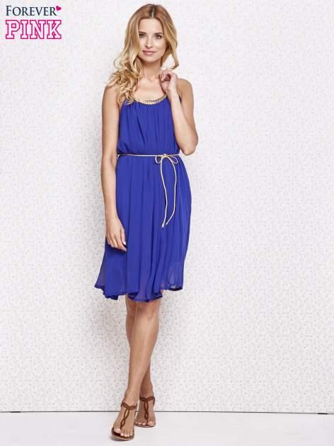 Ciemnoniebieska grecka sukienka ze złotym paskiem                                  zdj.                                  2