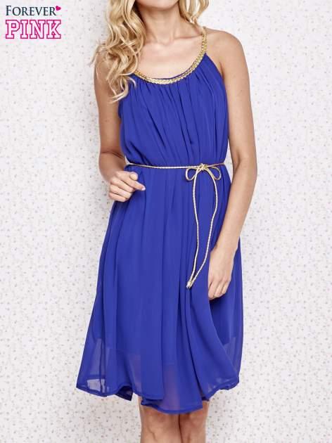 Ciemnoniebieska grecka sukienka ze złotym paskiem                                  zdj.                                  1