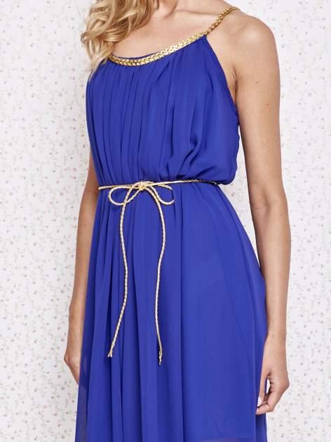 Ciemnoniebieska grecka sukienka ze złotym paskiem                                  zdj.                                  5