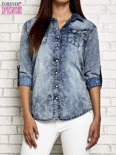 Ciemnoniebieska jeansowa koszula acid wash                                  zdj.                                  1