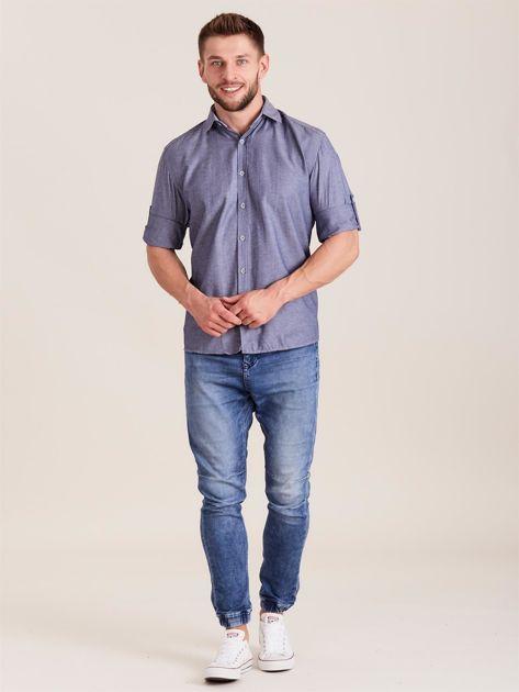 Ciemnoniebieska koszula męska o regularnym kroju                              zdj.                              4