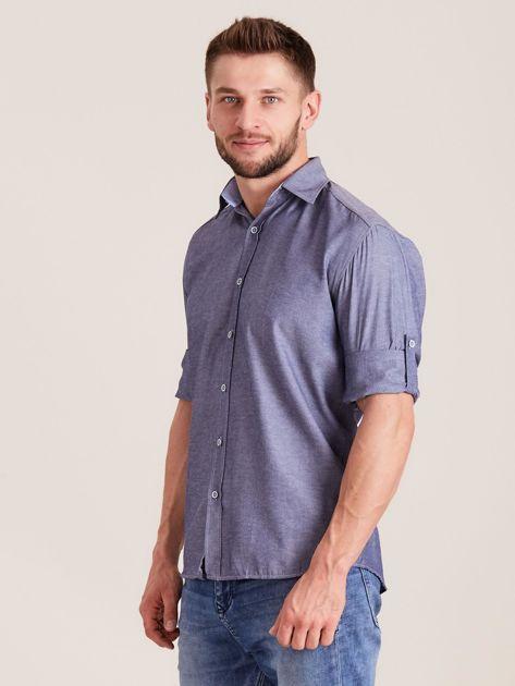 Ciemnoniebieska koszula męska o regularnym kroju                              zdj.                              3