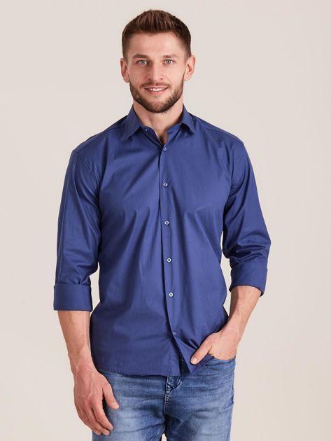 Ciemnoniebieska koszula męska regular                              zdj.                              1