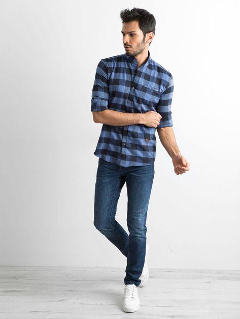Ciemnoniebieska koszula męska slim fit w kratę                              zdj.                              4