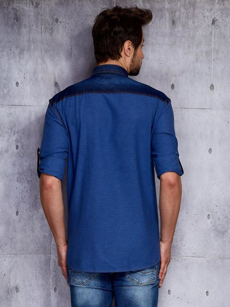 Ciemnoniebieska koszula męska w drobny wzór PLUS SIZE                              zdj.                              2