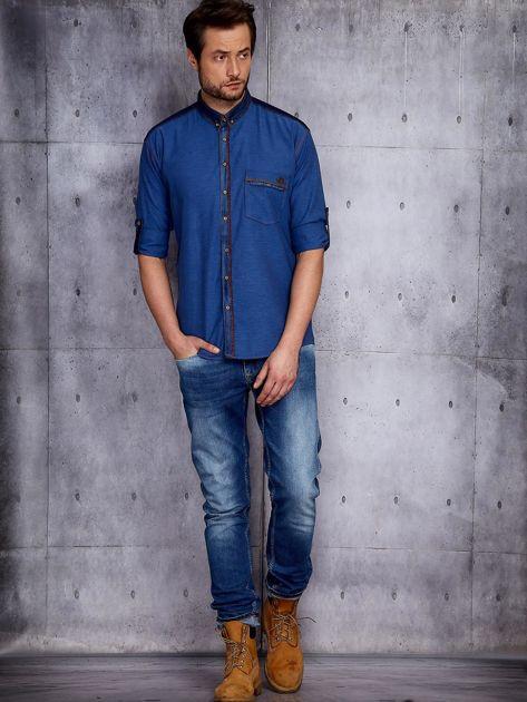 Ciemnoniebieska koszula męska w drobny wzór PLUS SIZE                              zdj.                              4