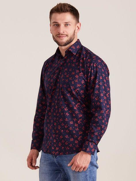 Ciemnoniebieska koszula męska w roślinne wzory                              zdj.                              3
