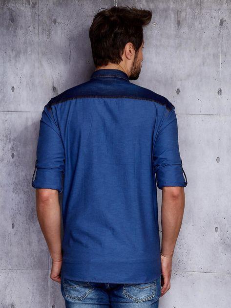 Ciemnoniebieska koszula męska z denimową listwą PLUS SIZE                              zdj.                              2