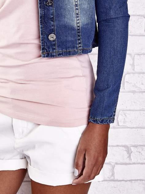 Ciemnoniebieska krótka kurtka jeansowa z przetarciami                                  zdj.                                  7