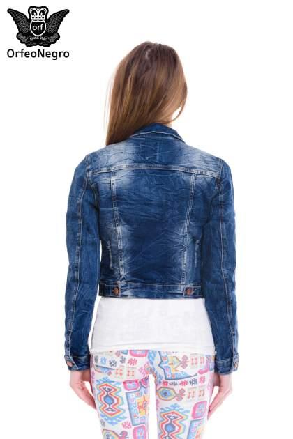 Ciemnoniebieska kurtka jeansowa damska z efektem gniecenia                                  zdj.                                  4