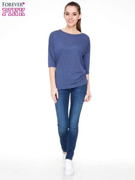 Ciemnoniebieska luźna bluzka z rękawem 3/4                                  zdj.                                  2
