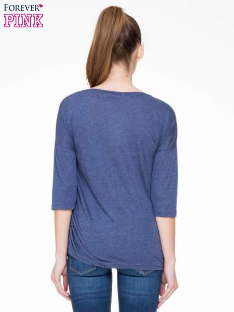 Ciemnoniebieska luźna bluzka z rękawem 3/4                                  zdj.                                  4