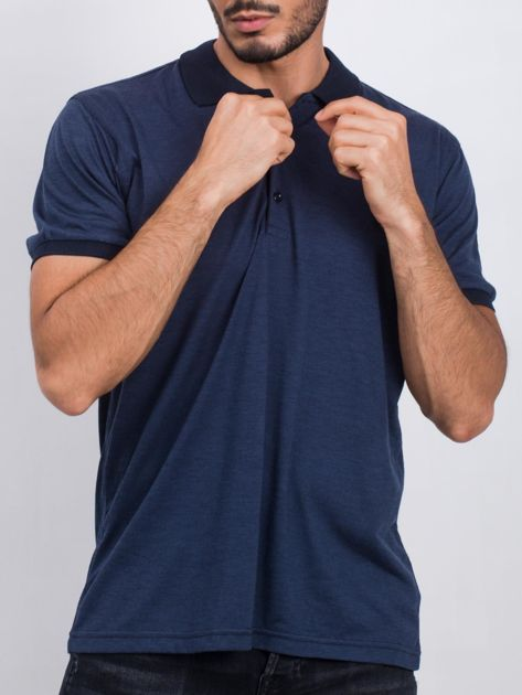 Ciemnoniebieska męska koszulka polo Privileged