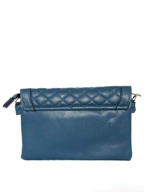 Ciemnoniebieska pikowana torba typu listonoszka                                  zdj.                                  2