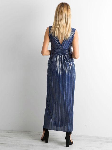 Ciemnoniebieska plisowana sukienka maxi                              zdj.                              2