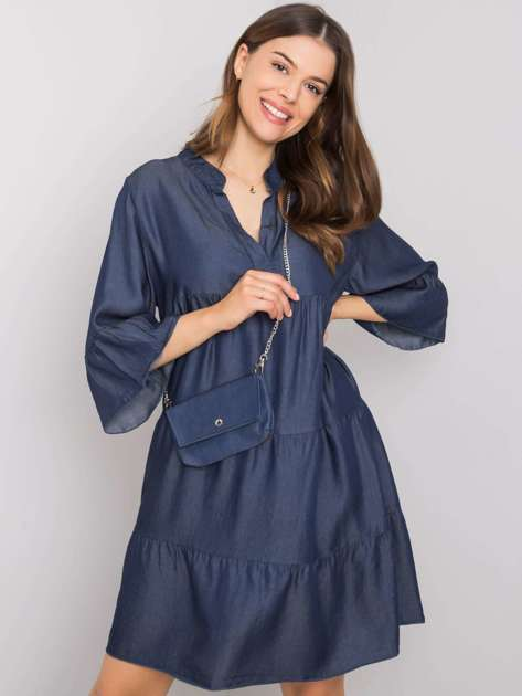 Ciemnoniebieska sukienka z falbaną Xenia