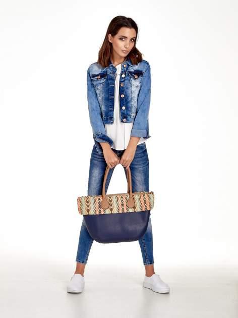 Ciemnoniebieska torba gumowa z motywem azteckim                                  zdj.                                  10