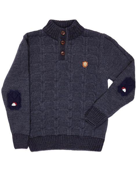 Ciemnoniebieski dziergany sweter dla chłopca                               zdj.                              4
