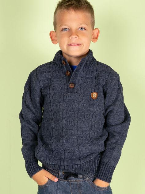 Ciemnoniebieski dziergany sweter dla chłopca                               zdj.                              1