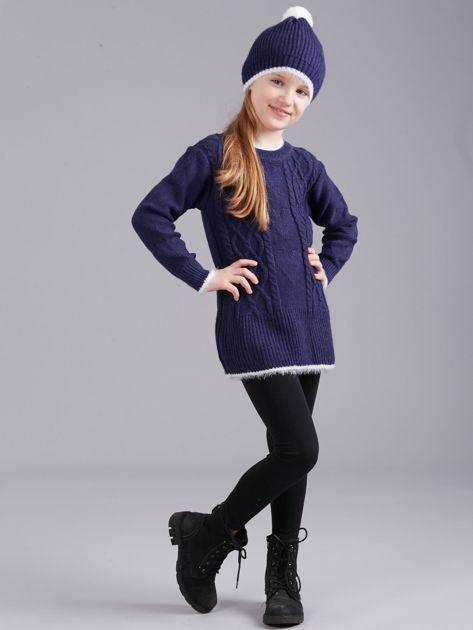 Ciemnoniebieski komplet zimowy dla dziewczynki                              zdj.                              4