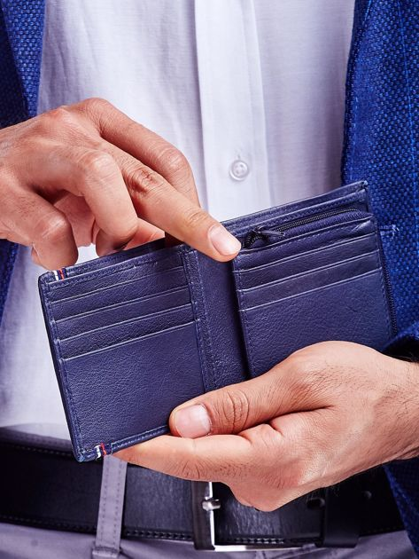 Ciemnoniebieski portfel dla mężczyzny ze skóry                               zdj.                              2