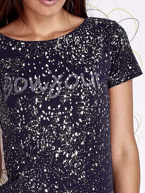 Ciemnoniebieski t-shirt z napisem BONJOUR                                  zdj.                                  5