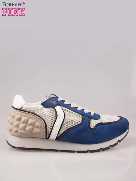 Ciemnoniebieskie buty sportowe Dragon z siateczką na wysokiej podeszwie                                  zdj.                                  1