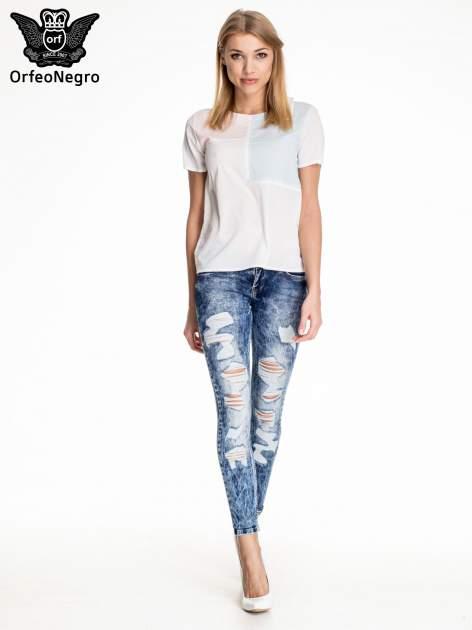 Ciemnoniebieskie spodnie acid wash ripped jeans                                  zdj.                                  2