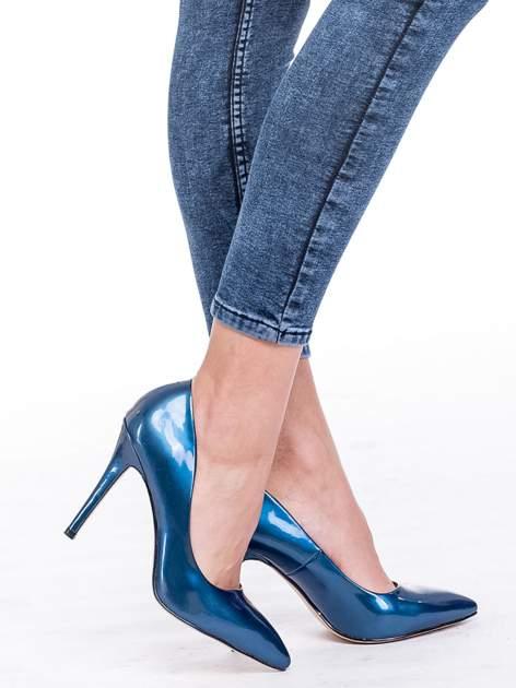 Ciemnoniebieskie spodnie jeansowe marmurki z wysokim stanem                                  zdj.                                  7