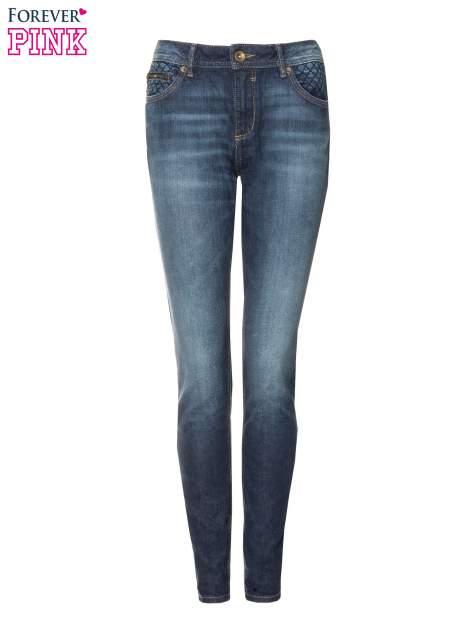Ciemnoniebieskie spodnie jeansowe rurki z pikowanymi wstawkami                                  zdj.                                  5