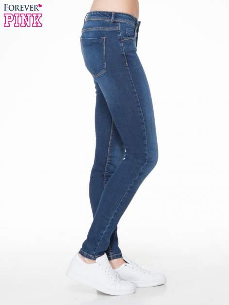 Ciemnoniebieskie spodnie typu skinny jeans z cieniowaniem                                  zdj.                                  3