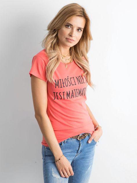 Ciemnopomarańczowa damska koszulka z napisem                              zdj.                              3