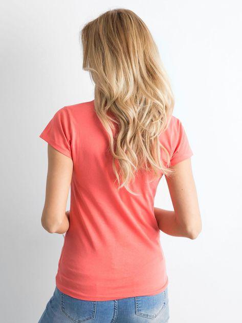 Ciemnopomarańczowa damska koszulka z napisem                              zdj.                              2