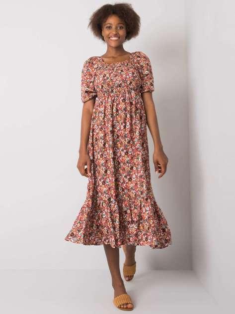Ciemnopomarańczowa sukienka w kwiaty Danae RUE PARIS