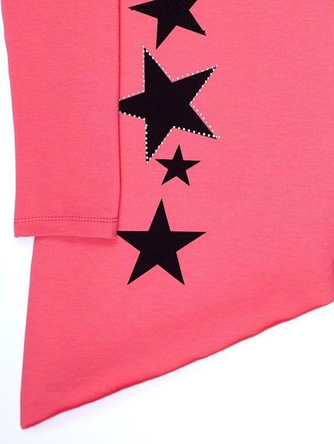 Ciemnoróżowa asymetryczna tunika dziewczęca z gwiazdkami                              zdj.                              4