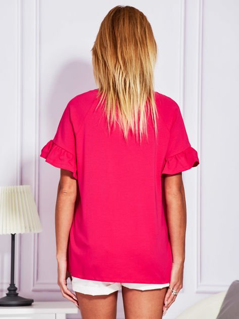 Ciemnoróżowa bluzka z falbanami na rękawach                                  zdj.                                  2