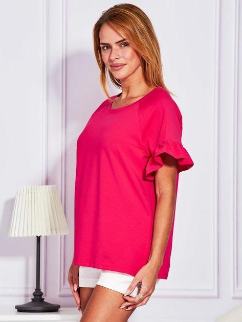 Ciemnoróżowa bluzka z falbanami na rękawach                              zdj.                              5