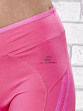 Ciemnoróżowe legginsy 3/4 sportowe termalne z lampasami                                  zdj.                                  7