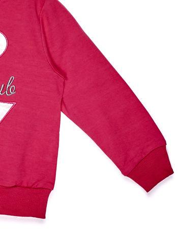 Ciemnoróżowy komplet dla dziewczynki bluza i spodnie                              zdj.                              4