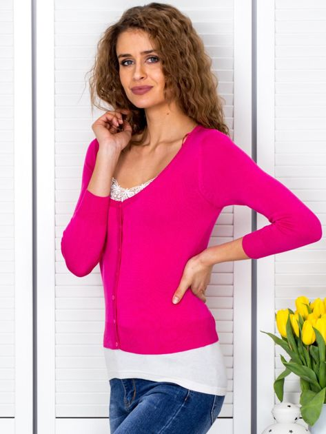 Ciemnoróżowy sweter damski z guzikami                               zdj.                              3