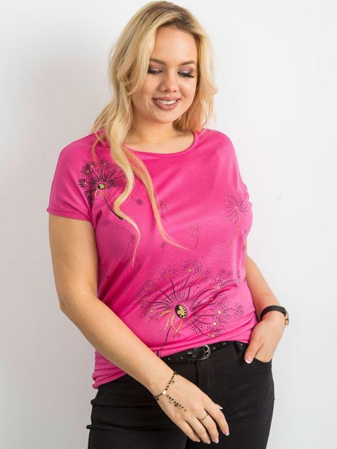 T shirt damski z nadrukiem ciemnoróżowy PLUS SIZE