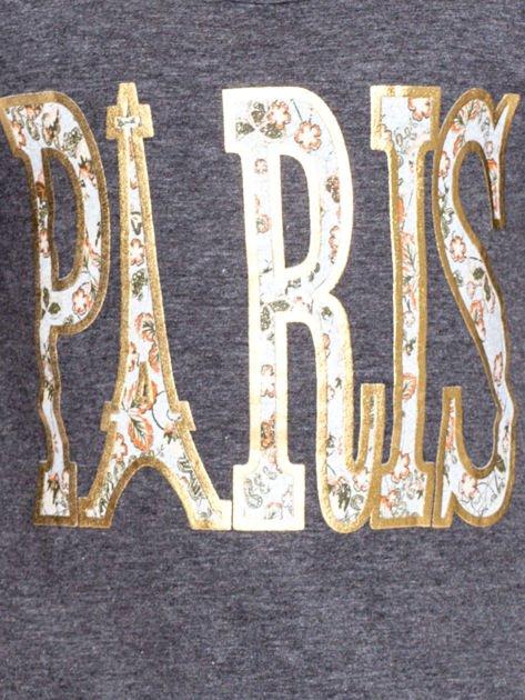 Ciemnoszara bawełniana bluzka dziewczęca z napisem PARIS                              zdj.                              2