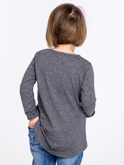 Ciemnoszara bawełniana bluzka dziewczęca z napisem PARIS                              zdj.                              3
