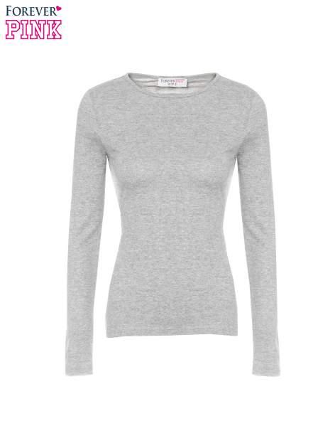 Ciemnoszara bawełniana bluzka typu basic z długim rękawem                                  zdj.                                  5
